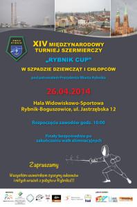 """Plakat XIV Międzynarodowego Turnieju Szermierczego """"Rybnik CUP"""" 2014"""